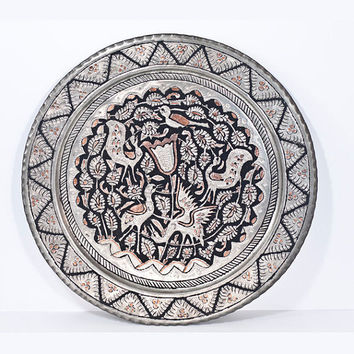 Persian Art Decorative Tray: Vintage Hand-Crafted Wall Hanging Plate, Large Islamic Tray Persian Isfahan Hammered Metal Decor, Birds Storks