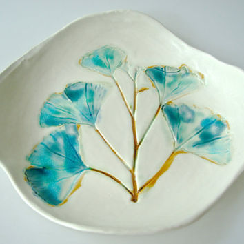 Ceramic Platter with Ginkgo Branch, aqua, turquoise and peacock, organic shape, botanical serving dish