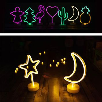 Night Light Battery Power Neon Table Lamp Holiday Light Flamingo Moon Unicorn LED for Festival Wedding Home Decor Light Night