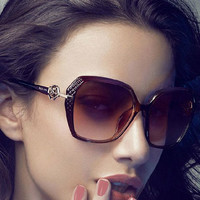 Floral Hinge Small Squared Frame Sunglasses