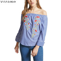 New Summer off shoulder Tops Long Sleeve blouse  Flowers Embroidery Striped Shirt  2017 Women Strapless Shirt Loose Top blusas