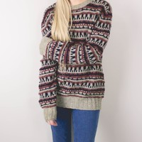 Vintage Aztec Wool Knit Sweater