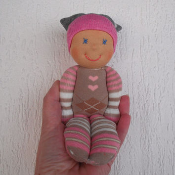 Waldorf Valentine baby doll for babygirls, Babyshower gift, First doll, Handmade sock doll, Pocket doll, Toddler gift, First birthday