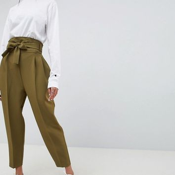 ASOS DESIGN high waist balloon tapered PANTS at asos.com