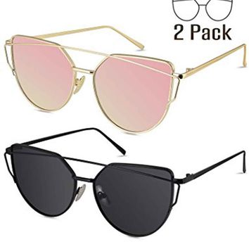 unglasses for Women, Cat Eye Mirrored Flat Lenses Metal Frame Sunglasses UV400