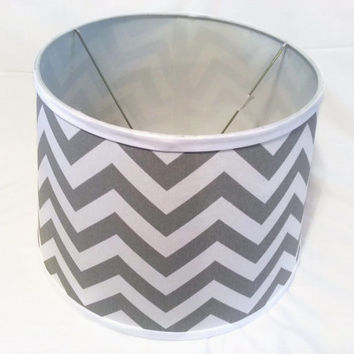Chevron, Damask or Coordinating  Print 12 x 15 x 10  Lamp Shade  -  Your choice of fabric and  trim - FREE Domestic Ship