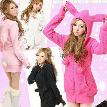 Cute Women Bunny Ears Warm Sherpa Hoodie Jacket Coat tops Outerwear 3275 = 1708686532