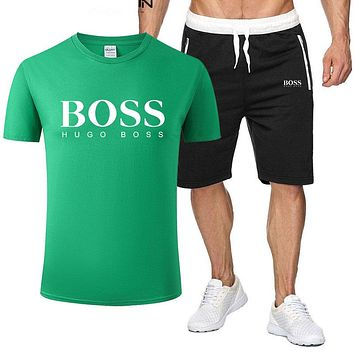 BOSS Summer Fashion New Letter Print Sports Leisure Top And Shorts Two Piece Suit Men Green
