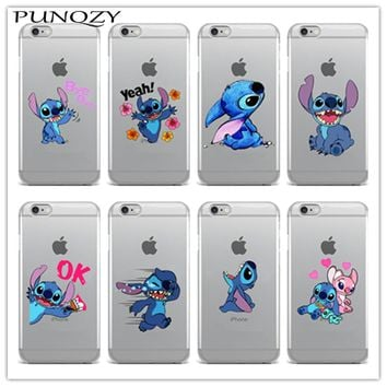 Cute Stitch Emoji Soft TPU Clear Silicon Phone Case For iPhone 6 6s Plus SE 5s 7 7Plus 4 4S 5C Back Cover Fundas Coque