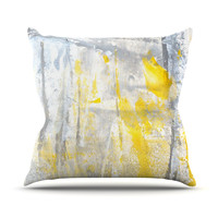 """CarolLynn Tice """"Abstraction"""" Grey Yellow Outdoor Throw Pillow, 18"""" x 18"""" - Outlet Item"""