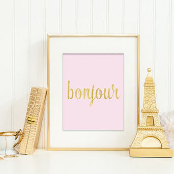 Bonjour - Faux Gold Foil Typography on Pink Background – Modern and Chic Printable Wall Art for Home or Office – Digital Download JPG
