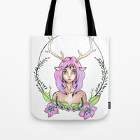 Deer Girl Tote Bag - Fantasy Art - Beach Bag - Grocery Bag - Original Hand Drawn Art - Made to Order