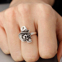 Adjustable Cowboy Skull ring, skull Burnished Ring Jewelry Adjustable Free Size Wrap Ring