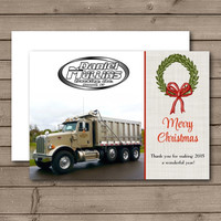 Wreath Corporate or Photo Happy Holidays Folded Card, Christmas Card, Christmas Business Card