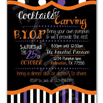 Black Orange and Purple Stripes and Polka Dots Cocktails and Carving Design Printable Invitation