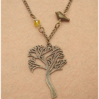 Bird Tree and Crystal Necklace by turquoisecity on Etsy