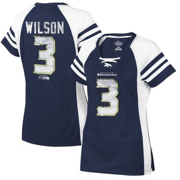Women's Seattle Seahawks Russell Wilson Majestic College Navy Draft Him IV T-Shirt