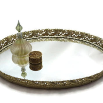 Vanity Mirror Tray - Filigree Mirrored Perfume Display Tray, Wall Hanging
