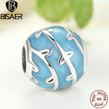 Real 100% 925 Sterling Silver Blue Vines Beads Charm Fit Original Pandora Bracelet Women Gift Fashion Sterling Silver Jewelry
