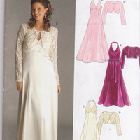 Sewing pattern for floor length halter top special occasion dress with bolero misses size 8 10 12 14 16 18 New Look 6507 UNCUT