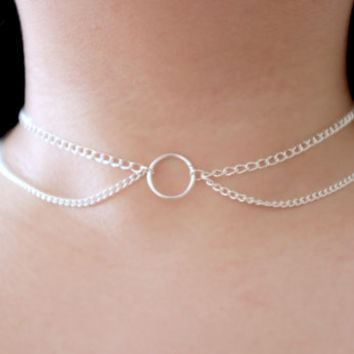 Circle O-RING Silver Double Tiered Chain Choker Collar Necklace