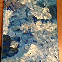 Abstract Blue Acrylic Painting