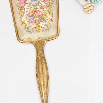 Brass Hand Mirror, Art Nouveau Handle, Celluloid Back, Vintage Mirror