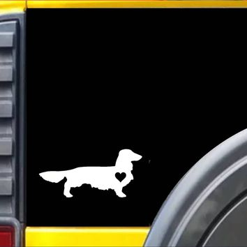 Longhaired Dachshund Little Heart Decal Sticker *J617*
