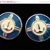 20% OFF SUMMER SALE Vintage nautical navy blue clasp earrings with anchor