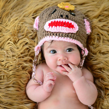 Baby monkey hat, sock monkey girl, baby girl animal hat, newborn monkey beanie, photo shoot prop, baby girl cute cap, preemie - 6 month old