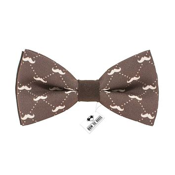 Brown Moustache Bow Tie