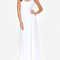 White V-neck Spaghetti Strap Cut Out Maxi Dress - Choies.com
