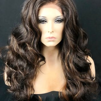 Warm Brown & Auburn Lace Front , Human Hair Blend | Brown Auburn Wig, Curly Lace Front Wig, Handmade, Auburn Highlights, Wavy Brown Wig
