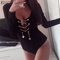 Rompers Womens Slim Fit Playsuits Long Sleeve Tops Jumpsuit Sexy Bodysuit Short Overalls Ladies Lace Up