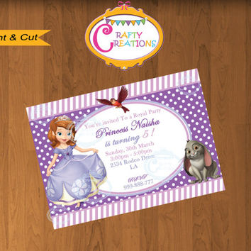 Disney's Sofia The First Birthday Invitation -Princess Sophia Invite - Disney Sofia The First Party Invites - CUSTOMIZABLE- Crafty Creations