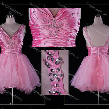 Fashion pink organza cocktail dresses with beads knee-length evening dress ,prom dress