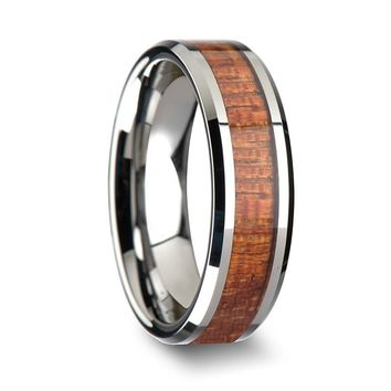 Exotic Mahogany Hard Wood Inlaid Tungsten Ring With Beveled Edges 4mm-10mm