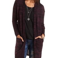 Marled Duster Cardigan Sweater by Charlotte Russe - Dark Purple Combo