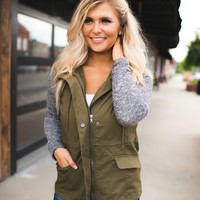 Line Up Jacket (Olive/Grey Sleeves)