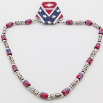 Rebel Flag Beads Southern Pride Dixie Metal Necklace