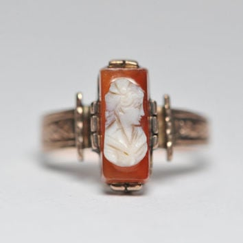Classy Antique Victorian Carnelian Cameo Ring by BellmansOnlineStore