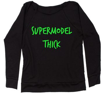 Supermodel Thick Slouchy Off Shoulder Oversized Sweatshirt