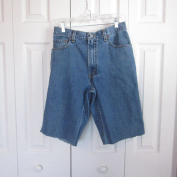 Levi 550 Denim Shorts Cut Off Levis Cutoffs Mens Medium Wash Jean Shorts Waist 34 Hipster Shorts Grunge Clothing