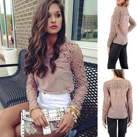 New FashionWomen Casual Long Sleeve Shirt Lace Crochet Loose Pierced Tops Blouse