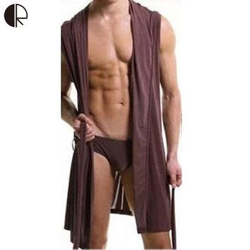 New Arrival Men's Fashion Sexy Casual Sleeveless Hooded Robe Lounge 4 Color 3 Size