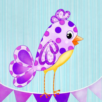 Purple Song bird Nursery Art Print 8x10 Polka dot by wonderlaneart