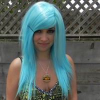 SALE // Cotton Candy Blue / Long Straight Layered Wig