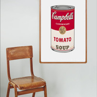 Printable Campbell's Soup, Pop Art, Andy Warholl Print, Modern Art Decor, Tomato Soup, Andy Warholl Art,Printable File ,kitchen art decor