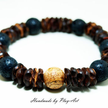 Mens tribal bracelet, Coconut Bracelet, Ragu beads bracelet,Nomadic. Tribal. Rustic Bracelet - Men's Bracelet - Gifts for Him
