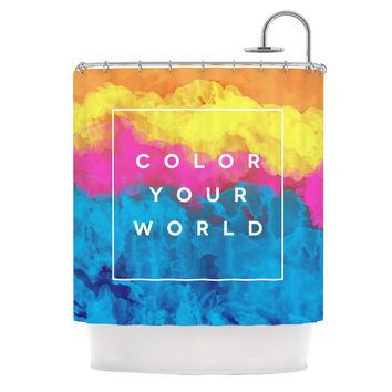 "Galaxy Eyes ""Color Your World"" Rainbow Paint Shower Curtain"